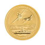 Front of 75th Anniversary 1/10 oz. Pearl Harbor Gold Coin featuring Japanese fighter planes and U.S. Navy ships