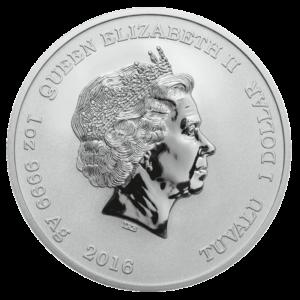 Back of 2016 1 oz. Pearl Harbor Silver Coin featuring Queen Elizabeth II
