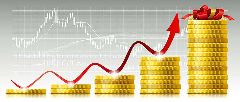 Gold prices increase as stock market decreases in background