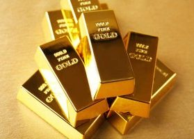 Stack of 999.9 fine gold bars in pristine condition