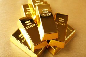 Stack of 999.9 fine gold bars in pristine condition