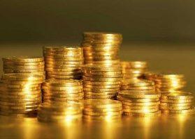 Stacks of shimmering gold coins