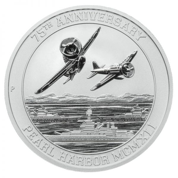 Reverse of 1 oz. Pearl Harbor Silver Coin featuring Japanese fighter planes above U.S. Navy ships