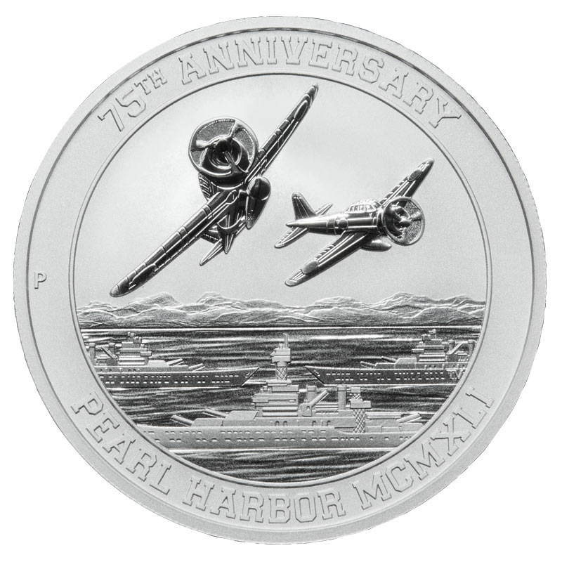 Front of 1 oz. Pearl Harbor Silver Coin featuring Japanese fighter planes above U.S. Navy ships