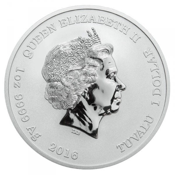 Back side of 1 oz. Pearl Harbor Silver Coin featuring Queen Elizabeth II