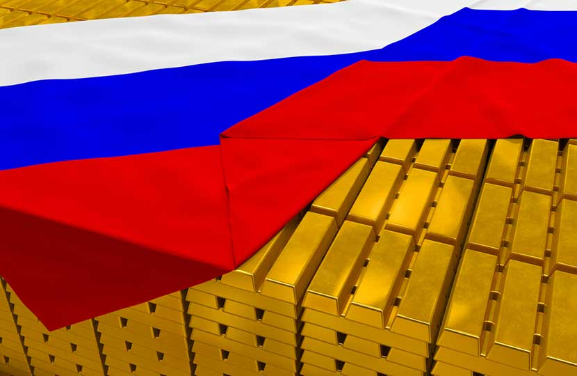 Russian flag draped over neatly stacked gold bars
