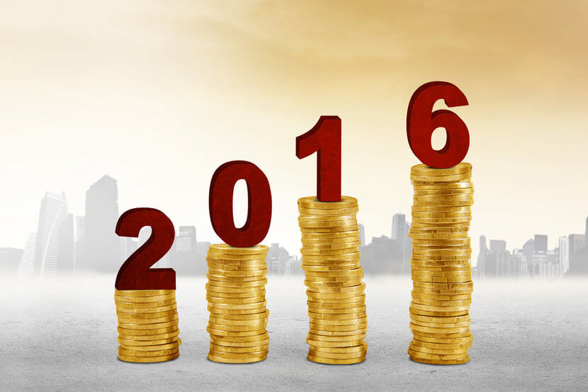 Increasing stacks of gold coins with the numerals 2016 resting atop each stack