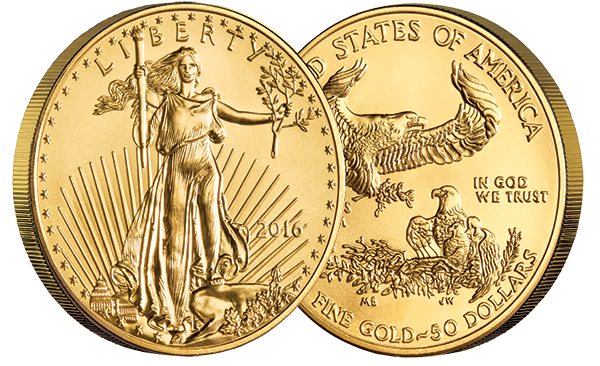 2016 1 oz. Gold American Eagle Coins front and back