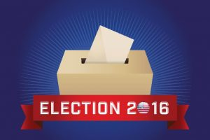 Red, white, and blue election 2016 ballot box