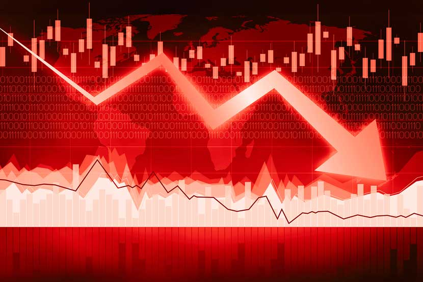 Eerily red stock market board with plunging error, indicating potential global recession