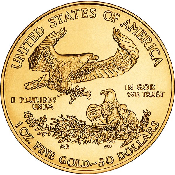 1 oz Gold American Eagle Coin, back