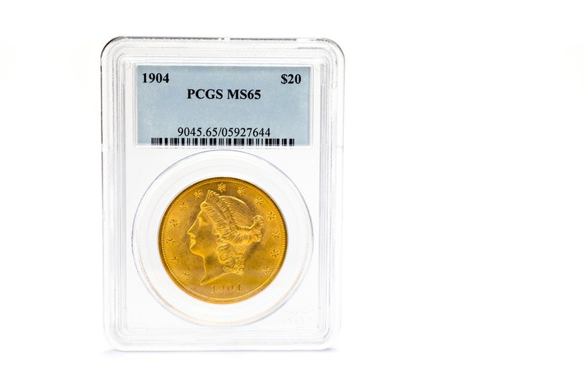 Sealed dollar certified gold coin PCGS MS65 $20