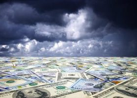 Sea of paper currency under a dark, gloomy sky