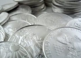 Silver American Eagle Coins, both front and backs displayed