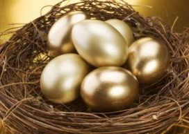 Golden eggs in nest, symbolizing being financially prepared for retirement
