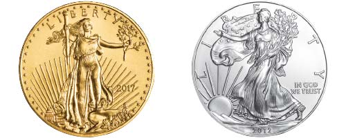 gold and silver American eagle coin