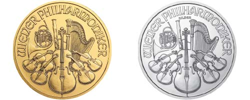 Austrian Vienna Philharmonic Silver Coin in Gold and silver