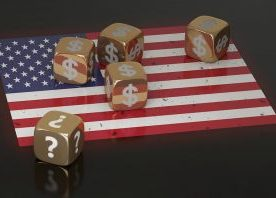 American flag against black background with gold dice, uncertain situation