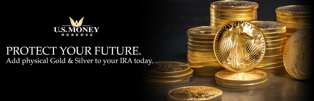 U.S. Money reserve logo with phrase Proptect your future underneath next to stacks of gold coins