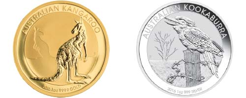 Australian Kookaburra gold and silver coin