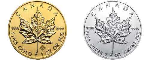 1oz Canada Maple leaf gold and silver coins