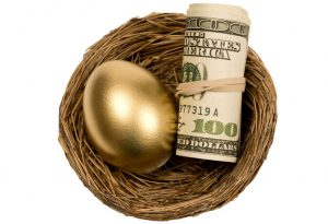 Gold egg in nest with roll of one hundred dollar bills