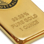Close up of Perth Mint gold bar purity and bar size markings