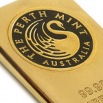 Close up of Perth Mint gold bar hallmark