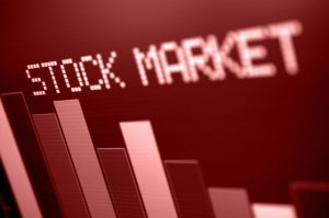 Angled view of sepia-toned stock market dashboard