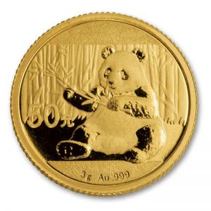 front of Gold China Panda Coin
