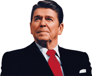 Portrait of pensive Ronald Reagan