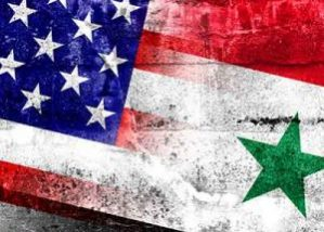 Distressed image of U.S.A and Syria flags merged together at the middle