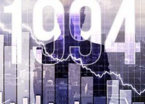 bar graph moving down with city in background and 1994 spread across the entire image, its a dark image portraying a market crash