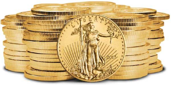 2017 gold bullion stack on white background