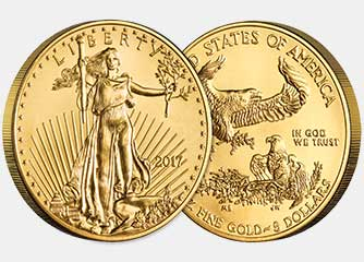 Front and back sides of a gold american eagle bullion coin