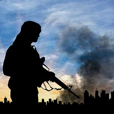 silhouette of terrorist hold gun, dark background of city with smoke rising into the air