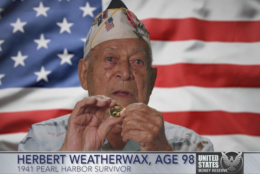 Herbert Weatherwax, 1941 Pearl Harbor Survivor holding 24-karat Pearl Harbor Gold Coin