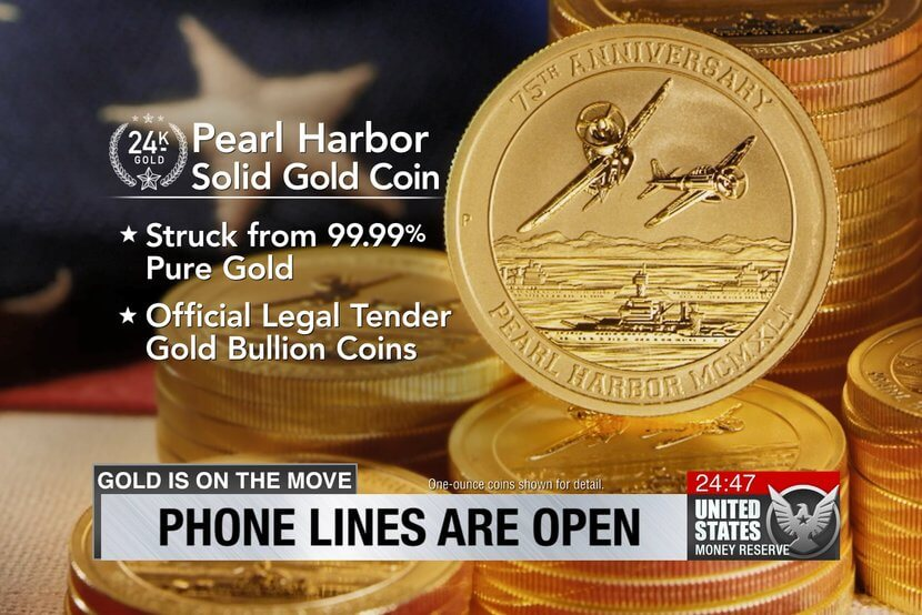 24 karat Pearl Harbor Gold Coin, struck from 99.99% pure gold, official legal tender gold bullion coins