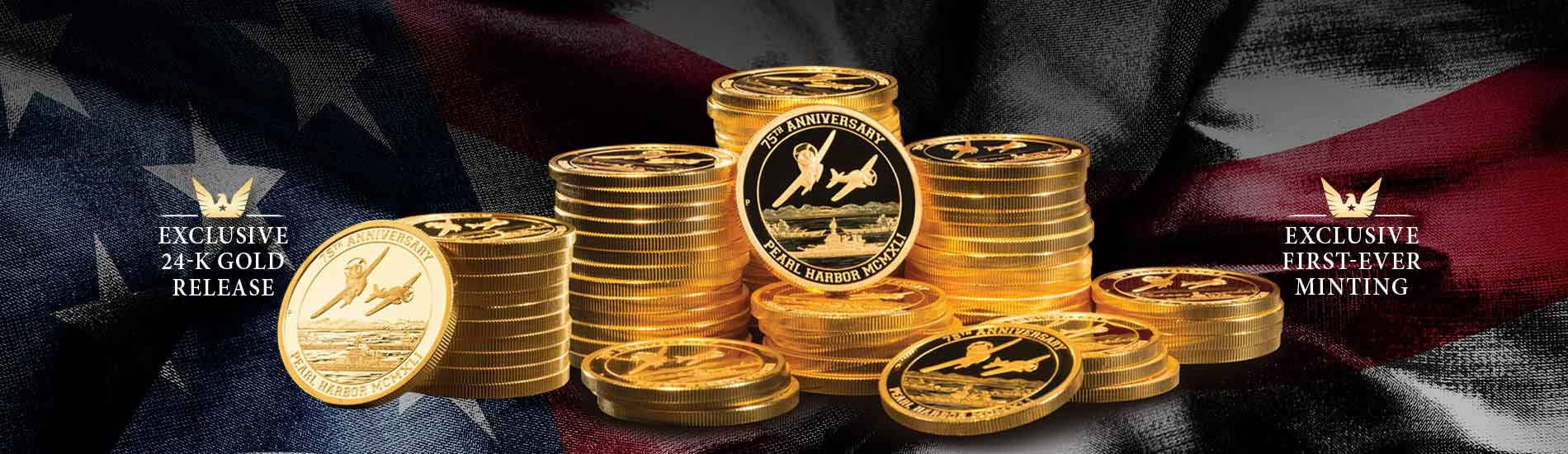Stack of pearl harbor gold coins against an american flag background