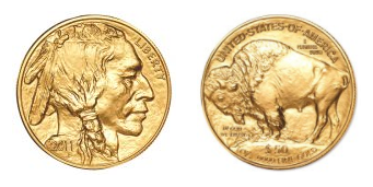 Front and back of Gold American Buffalo Coin