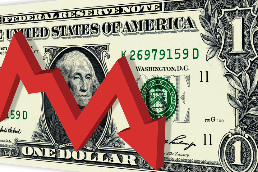 U.S. one dollar bill with red arrow going down over the bill