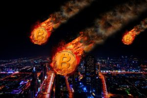 Bitcoin on fire, falling from sky over city, illustrating demise of cryptocurrency