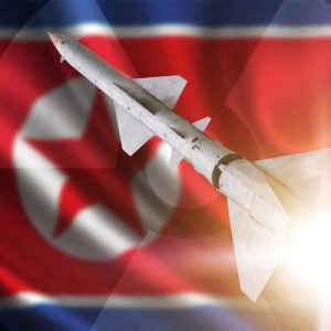 North Korean flag with missile.