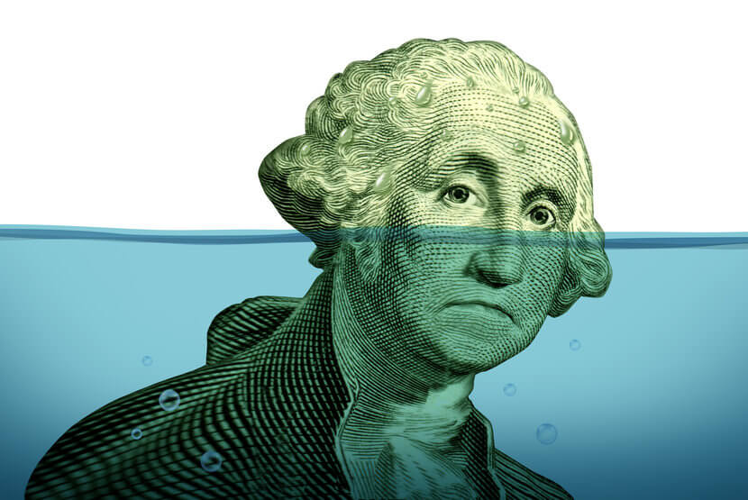 George Washington head going under water, indicative of growing federal debt