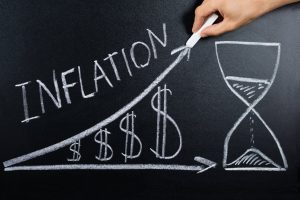 Chalkboard drawing of inflation increases