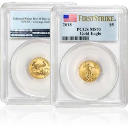 2018 1/10 oz. Gold American Eagle Coin MS70 in plastic case from PCGS with First Strike label