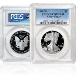 Front and back view of Silver American Eagle Proof Coin in sealed PCGS slab