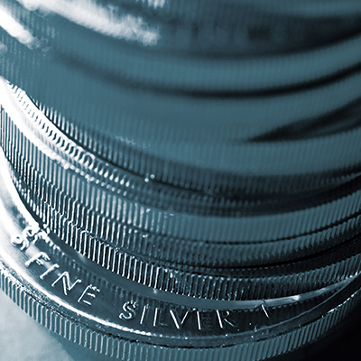 Stack of 1 oz. Silver American Eagle Coins