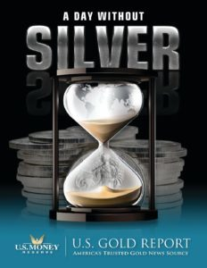 A Day Without Silver Market Insights eBook cover with hourglass and silver coins