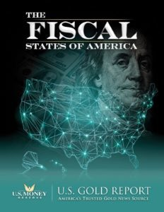USMR gold-buying eBook cover titled: Fiscal States of Ameria
